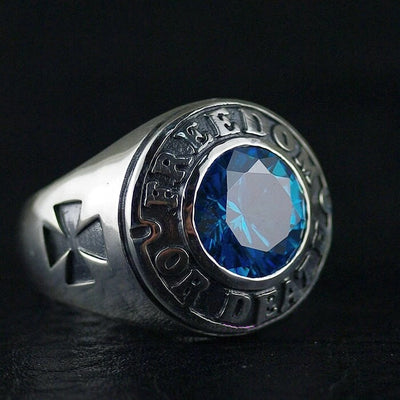 Thailand imports, the man DEATH OR FREEDOM Blue  Silver Ring - Mirage Novelty World