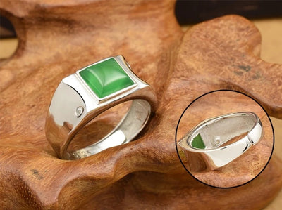 925 Silver-inlaid Natural Chalcedony Spinach  Ring - Mirage Novelty World