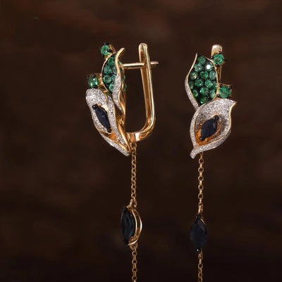 Gold Earrings For Women 14K 585 Yellow Gold Sparkling Diamond Emerald Blue Sapphire Leaves Drop Earrings Fine Jewelry - Mirage Novelty World