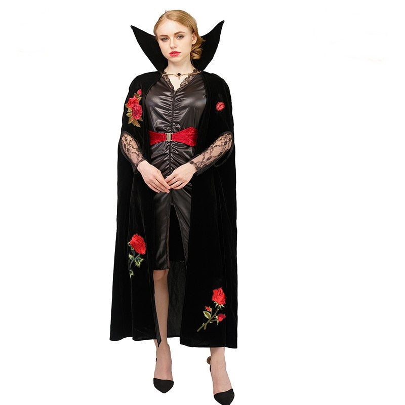 Halloween Costume 398.Deluxe Halloween Sexy Adult Women Vampire Costumes Fancy Dress Witch Female Costumes Vampire Rose Uniforms Costumes