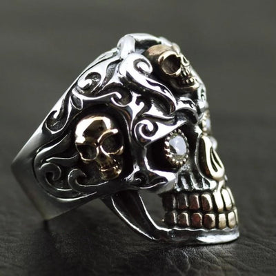 Thailand imports, skull blood big gold teeth Skull Ring - Mirage Novelty World