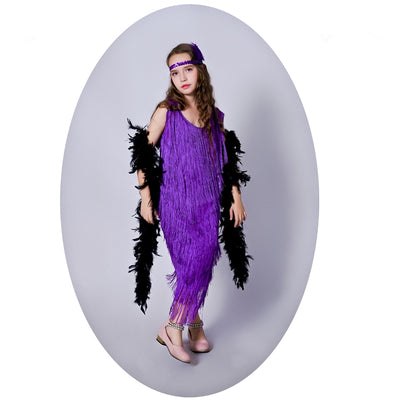 Girl Purple Flapper Costume Cosplay Carnival Party Fancy Dress Flapper Dress - Mirage Novelty World