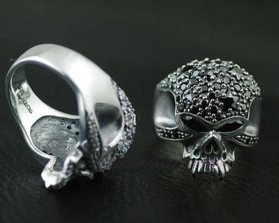 Thailand imports, with drilling skull Silver Ring - Mirage Novelty World