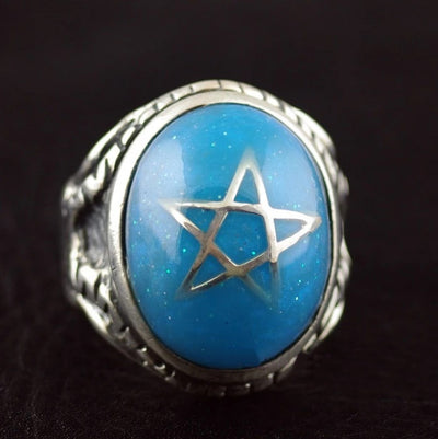 The import of silver 925 silver five pointed star dream blue ring ring - Mirage Novelty World