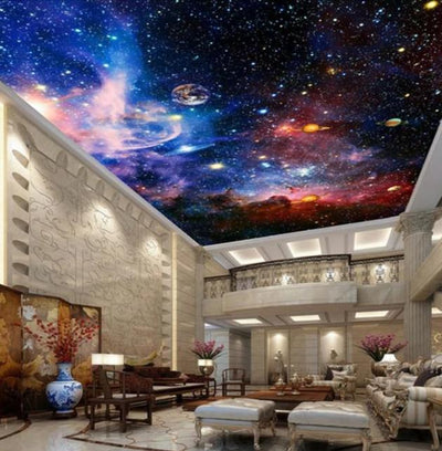 Custom Murals 3D Star Nebula Night Sky Wall Painting Ceiling Smallpox Wallpaper Bedroom TV Background Galaxy Theme Wallpaper - Mirage Novelty World