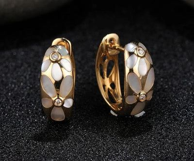 Gold Earrings For Women Pure 14K 585 Yellow Gold Fancy Flower White Mother of Pearl Sparkling Diamond Chic Fine Jewelry - Mirage Novelty World