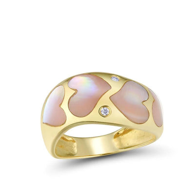 Gold Rings For Women Genuine 14K 585 Yellow Gold Ring Sparkling Diamond Fancy Heart Pink Mother of Pearl  Fine Jewelry - Mirage Novelty World
