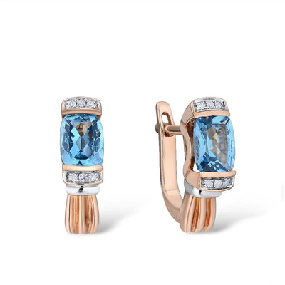 Gold Earrings For Women 14K 585 Rose Gold Sparkling Sparkling Luxury Diamond Blue Topaz Wedding Engagement Fine Jewelry - Mirage Novelty World