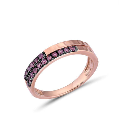 Genuine 10K Rose Gold Rhodolite Garnet Variable Stakable Ring For Women Trendy Engagement Anniversary chic Fine Jewelry - Mirage Novelty World