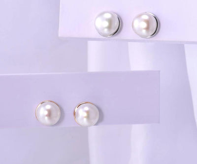 Stud Earring For Women Pure 14K 585 Yellow/White Gold Elegant shining Fresh Water White Pearl Unique Trendy Fine Jewelry - Mirage Novelty World