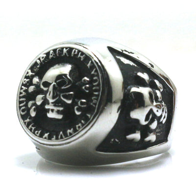 Mens Boys 316L Stainless Steel Punk Gothic Silver Classic Pirate  Biker Skull Ring - Mirage Novelty World
