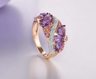 Genuine 14K Rose Gold Ring For Women Shimmering Diamond Fancy Pink Sapphire Amethyst Fantastic Wedding Band Fine Jewelry - Mirage Novelty World