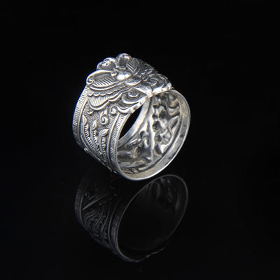 roll ring butterfly Yinfeng fine silver 999 sterling silver ring opening antique retro ring process of men and women - Mirage Novelty World