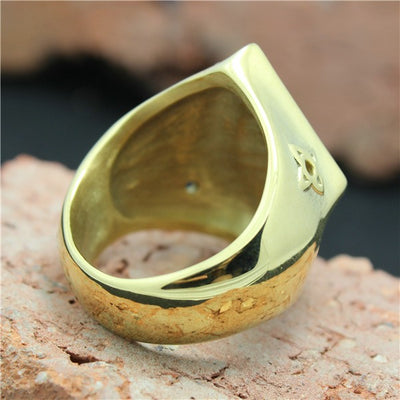 316L Stainless Steel Golden Biker 1%er Ring Mens Motorcycle Golden Biker Ring Cool - Mirage Novelty World