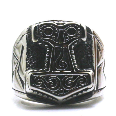 Mens Boys 316L Stainless Steel Punk Gothic Classic Thor's Hammer Silver Ring Newest - Mirage Novelty World