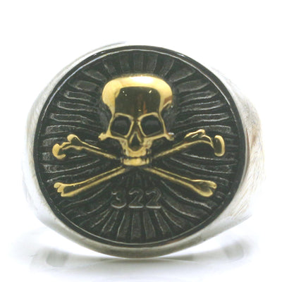 Mens Boys 316L Stainless Steel Cool Golden 322 Golden Silver Pirate Skull Ring - Mirage Novelty World