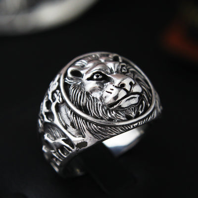 925 Silver Ring male lion Silver Ring single domineering personality retro punk lion ring finger - Mirage Novelty World