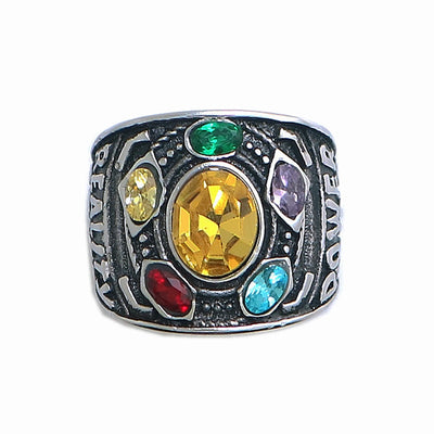 Hight Quality Size 6 to Size 15 Unisex 316L Stainless Steel Cool Avenger Thanos 5 Stones Golden Silver Ring - Mirage Novelty World