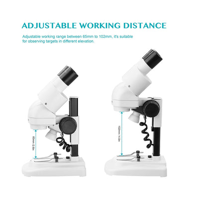 20X/40X Stereo Microscope Binocular HD Vision Top LED Illumination PCB Solder Phone Repair Tool Kids Education Gift