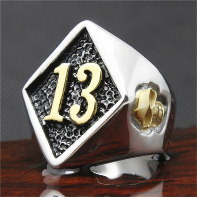 316L Stainless Steel Silver Biker 13 Ring Mens Motorcycle Biker Band Party Mens Ring - Mirage Novelty World