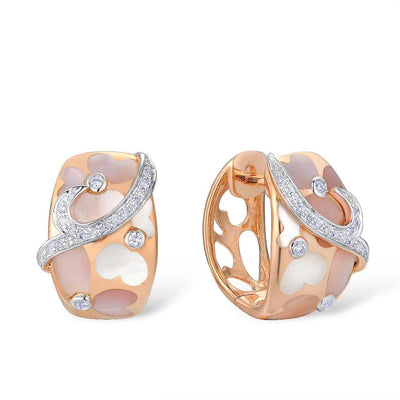 Gold Earrings For Women Pure 14K 585 Rose Gold Pink Mother of Pearl Sparkling Diamond Wedding Engagement Fine Jewelry - Mirage Novelty World