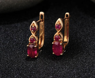 Gold Earrings For Women Authentic 14K 585 Rose Gold Shimmering Red Ruby Wedding Band Engagement Anniversary Fine Jewelry - Mirage Novelty World