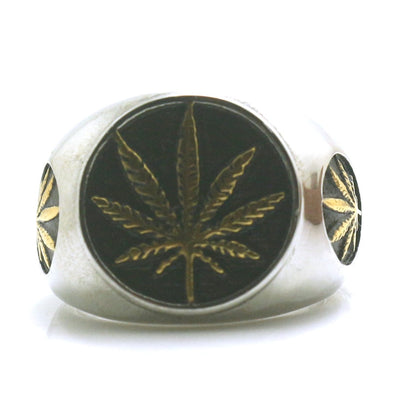Mens Boys 316L Stainless Steel Cool Silver Golden Maple Leaves Newest Ring - Mirage Novelty World