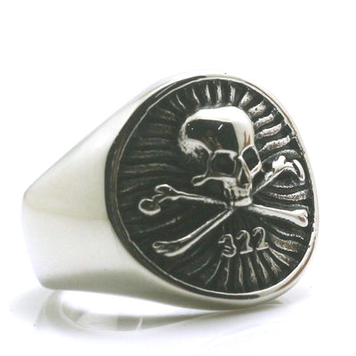 Mens Boys 316L Stainless Steel Cool Golden 322 Silver Pirate Skull Ring - Mirage Novelty World