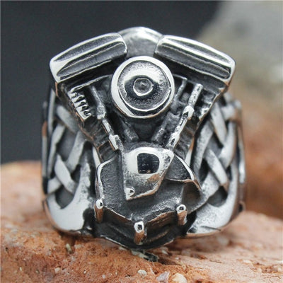 Cool 316L Stainless Steel Silver Biker Engine Ring Mens Motorcycle Biker Engine Ring - Mirage Novelty World