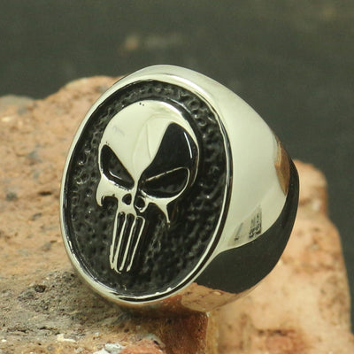 Mens Boys 316L Stainless Steel Punk Gothic Silver Punisher Skull Ring - Mirage Novelty World