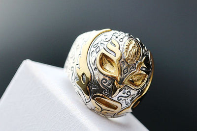 Thai silver Jesus width male hip-hop 925 sterling silver ring opening of mustard - Mirage Novelty World