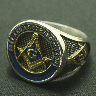 Newest Design Freemasonry Masonic Cool Ring 316L Stainless Steel Blue&Golden Fashion A Gift - Mirage Novelty World