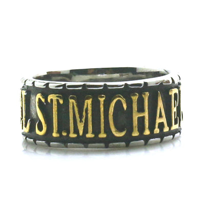 Unisex 316L Stainless Steel Saint Michael The Archangel Pray For Us Golden & Silver Newest Ring - Mirage Novelty World