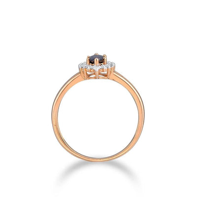 Gold Rings For Women Genuine 14K 585 Rose Gold Ring Sparkling Diamond Oval Blue Sapphire Wedding Band Rings Fine Jewelry - Mirage Novelty World