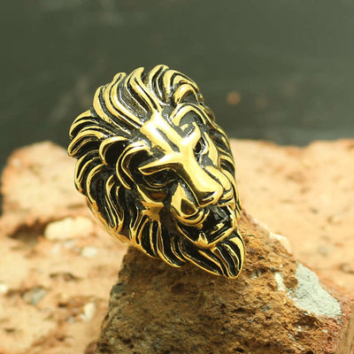 Mens 316L Stainless Steel Cool Golden Lion King Ring - Mirage Novelty World