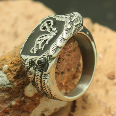 Mens Boys 316L Stainless Steel Cool Star Motorcycle Biker Rider Silver Ring - Mirage Novelty World