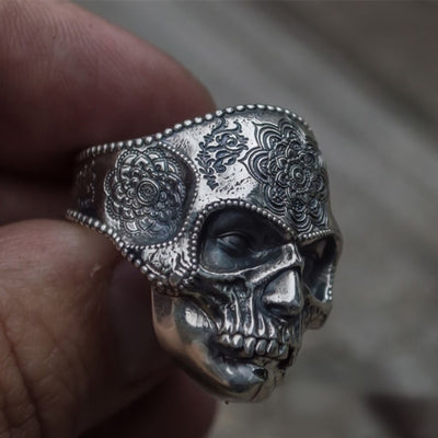 Unique Silver Color 316L Stainless Steel Heavy Sugar Skull Ring Mens Mandala Flower Santa Muerte Biker Jewelry - Mirage Novelty World