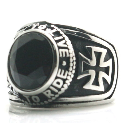 Unisex 316L Stainless Steel Cool Cross Ride To Live, Live To Ride Black Stone Rider Classic Ring - Mirage Novelty World