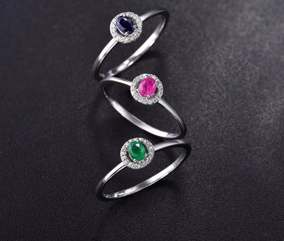 14K White Gold Rings For Lady Genuine Shiny Diamond Fancy Sapphire Ruby Emerald Engagement Anniversary Chic Fine Jewelry - Mirage Novelty World