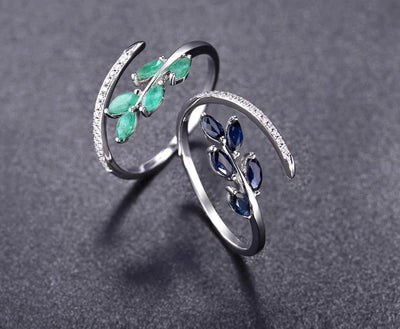 14K White Gold Rings For Lady Genuine Shiny Diamond Fancy Blue Sapphire Emerald Engagement Anniversary Chic Fine Jewelry - Mirage Novelty World