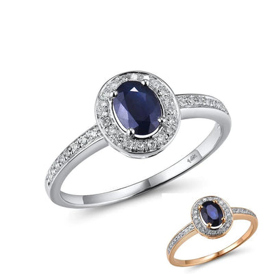 14K White Gold Rings For Women Genuine Sparkling Diamond Fancy Blue Sapphire Engagement Anniversary Unique Fine Jewelry - Mirage Novelty World