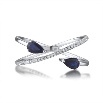 Genuine 14K White Gold Rings For Women Sparkling Diamond Fancy Blue Sapphire Engagement Anniversary Unique Fine Jewelry - Mirage Novelty World
