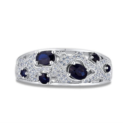Genuine 14K 585 White Gold Fancy Blue Sapphire Shiny Diamond Ring For Women Engagement Anniversary Elegant Fine Jewelry - Mirage Novelty World