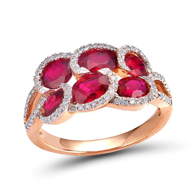 14K 585 Rose Gold Fancy Ruby Glittering Diamond Ring For Women Wedding Engagement Anniverary Trendy Luxury Fine Jewelry - Mirage Novelty World