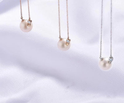 Gold Necklace For Women Genuine 14K 585 Rose/White/Yellow Gold Fresh Water White Pearl Diamond Necklace Fine Jewelry - Mirage Novelty World