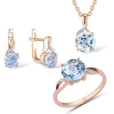 Jewelry Set For Woman Pure 14K 585 Rose Gold Sparkling Sky Blue Topaz Diamond Earrings Ring Pendant Set Fine Jewelry - Mirage Novelty World