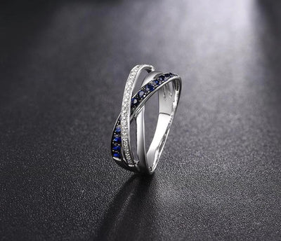 Gold Rings For Women Genuine 14K 585 White Gold Ring Sparkling Diamond Blue Sapphire Engagement Anniversary Fine Jewelry - Mirage Novelty World