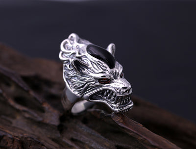 silver S925 men's personality retro ring ring finger silver Wolf Totem Wolf - Mirage Novelty World
