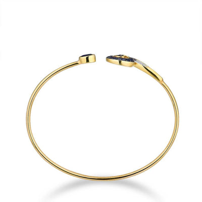 10K Yellow Gold Created Sapphire&White Sappire Unique Bangle For Lady Engagement Anniversary Trendy Elegant Fine Jewelry - Mirage Novelty World