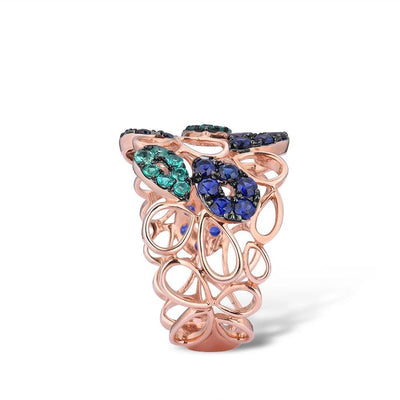 Genuine 10K Rose Gold Drop Hollow Ring For Lady Created Sapphire Created Emerald Fashionable Unique Party Fine Jewelry - Mirage Novelty World